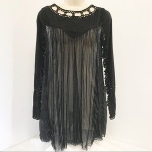 Free People Tunic SP Sheer Raw Tattered Open Back